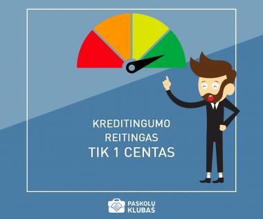 Kreditingumo reitingas imant paskolą šią savaitę tik 1ct